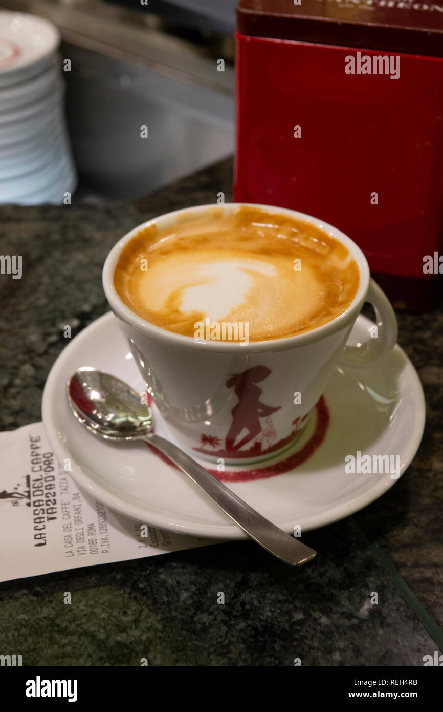 Italy Rome food cappuccino at La Casa Del Caffe Tazza D'Oro coffee roasters - Stock Image
