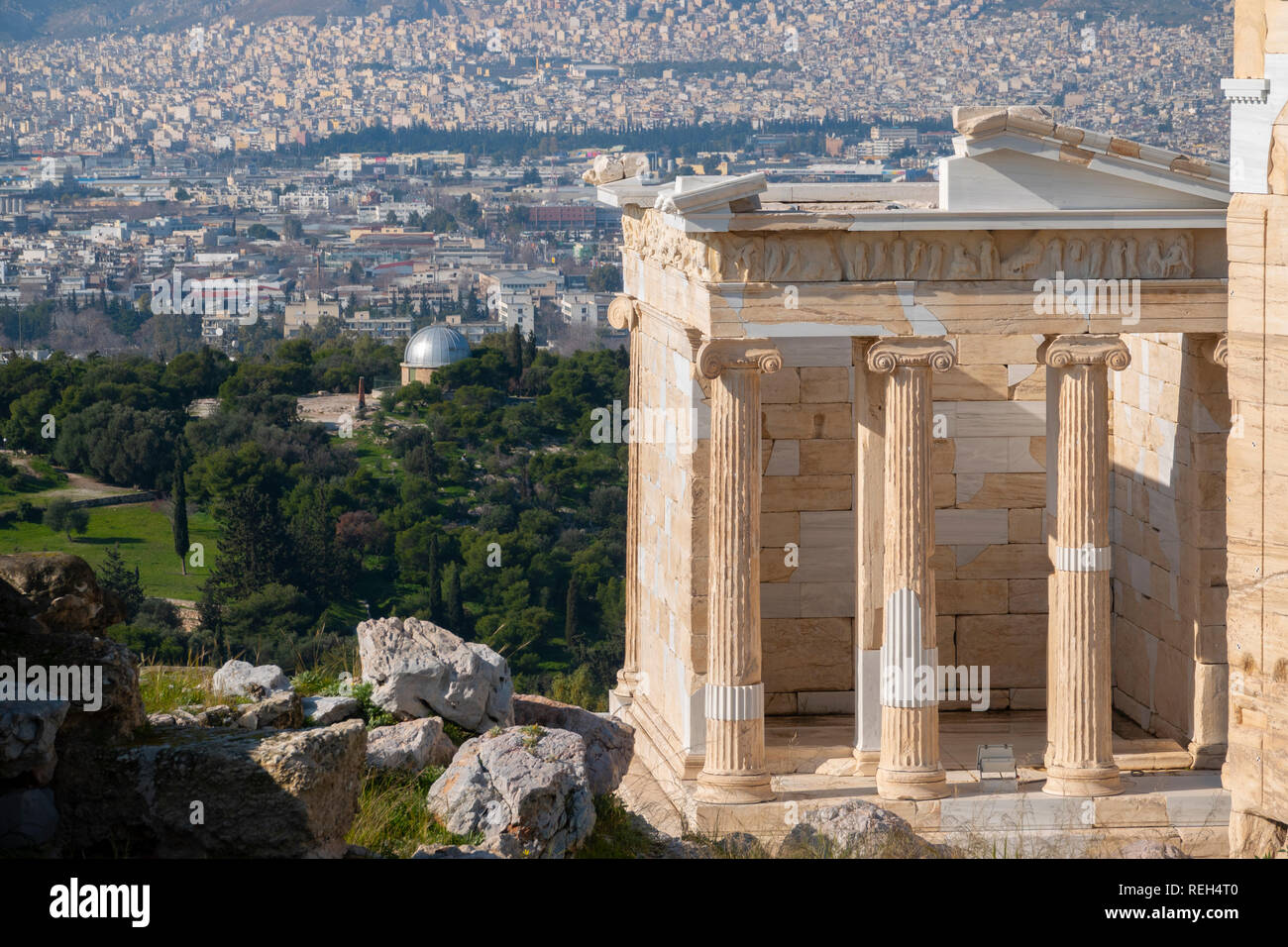 Europe Greece Athens Athena Acropolis part of the propylaea, propylea or propylaia gate of the Acropolis - Stock Image
