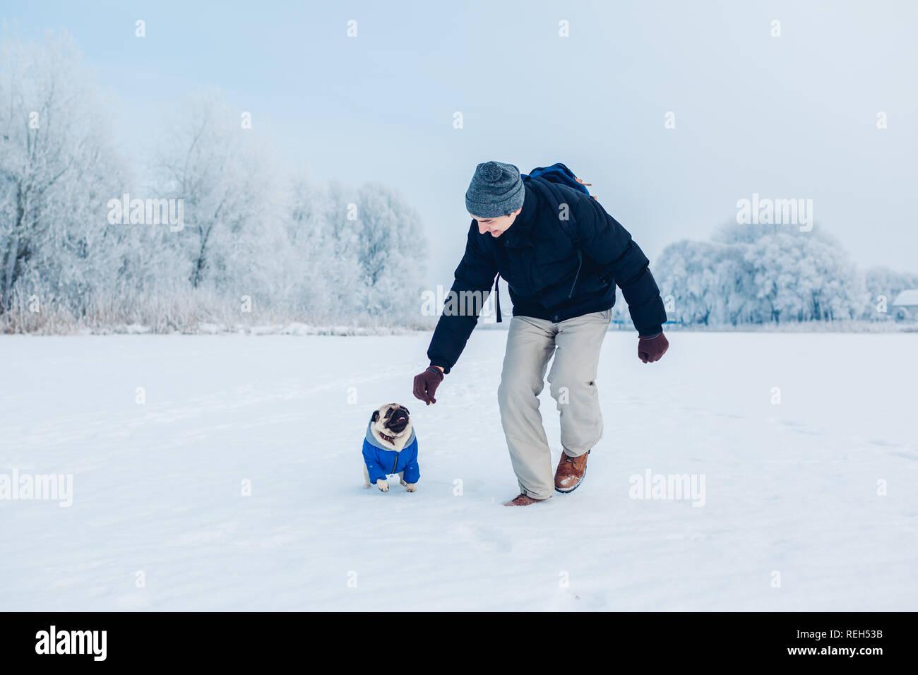 Running Snow Winter Puppy Stock Photos & Running Snow