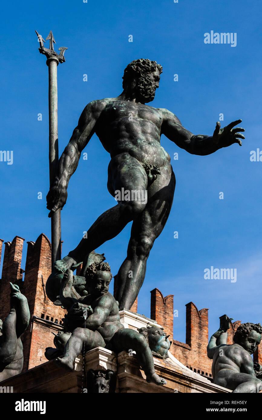 The Neptune Fountain in Piazza del Nettuno, Bologna, Italy - Stock Image