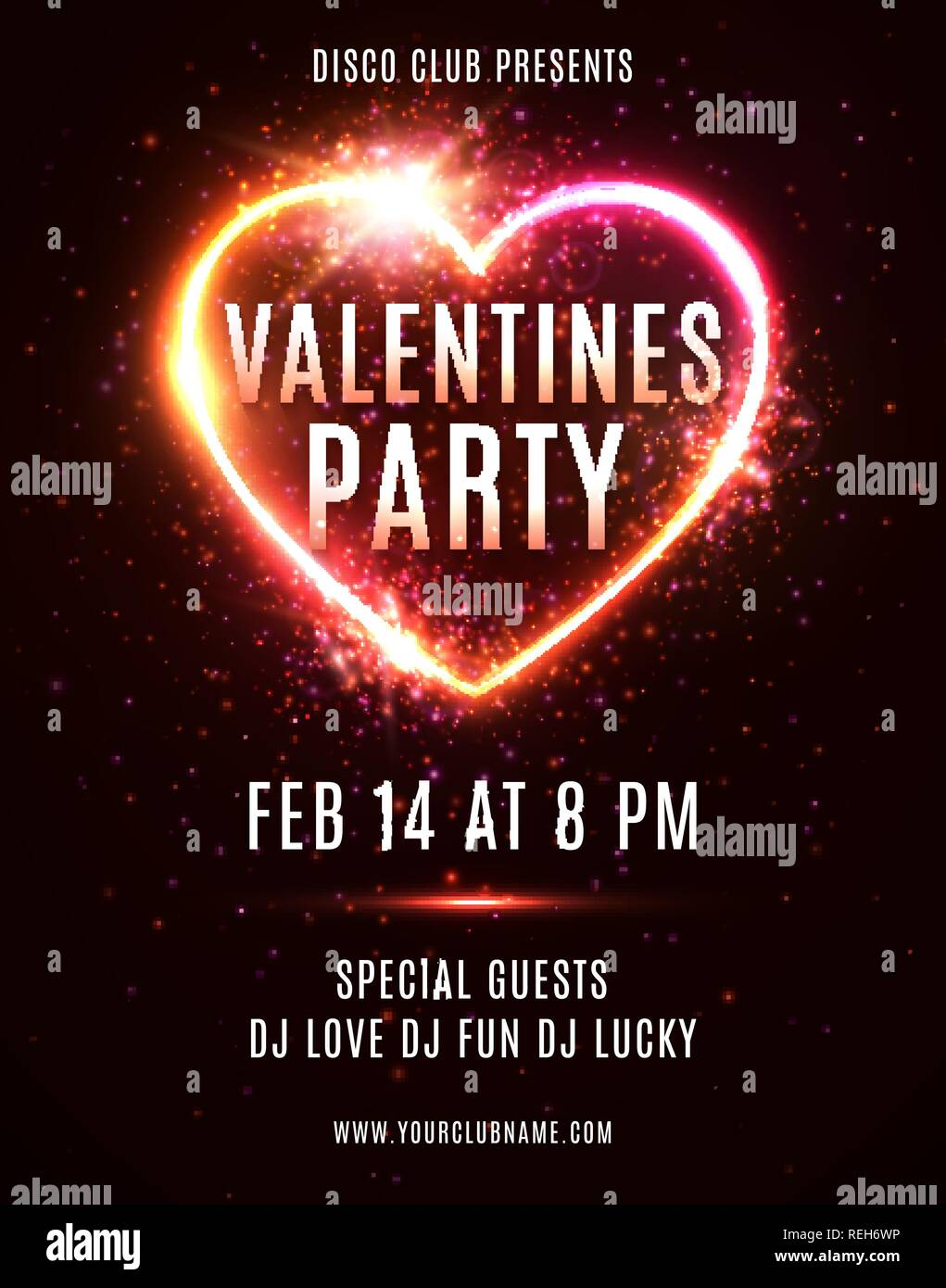 Valentines Day Party flyer or poster design template on dark red backdrop. Illuminated glowing heart background with light explosion particles stars. Electric led neon sign. Bright vector illustration Stock Vector