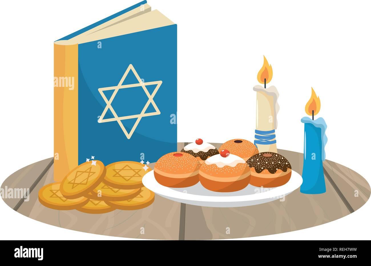 hanukkah party cartoon - Stock Vector
