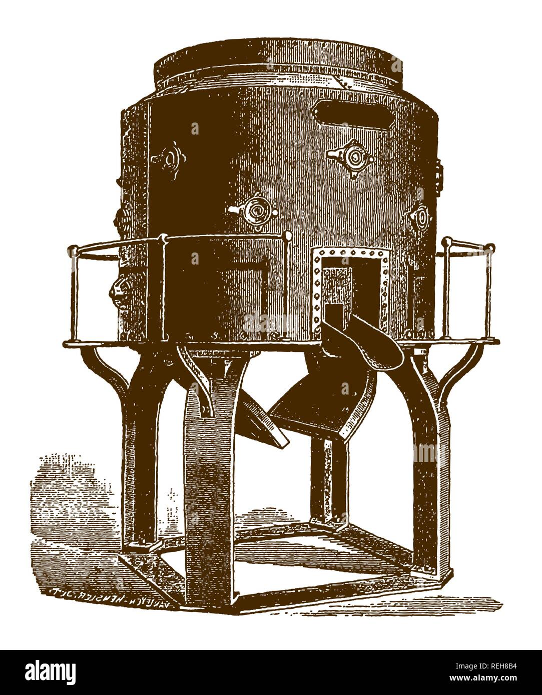 Historic cupola furnace for melting iron(after an engraving or etching from the 19th century) - Stock Image