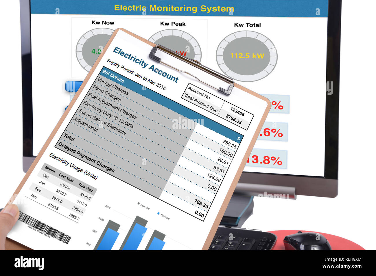 Electricity usage bill on clipboard with computer display showing electricity monitoring system on screen. - Stock Image