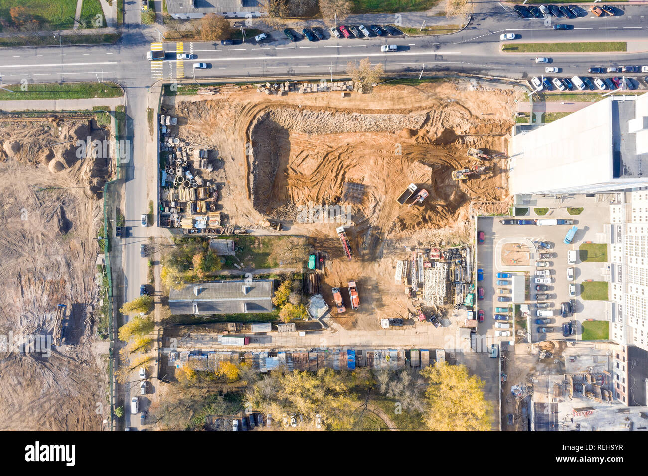 aerial top view of city construction site. city infrastructure development. drone photography - Stock Image
