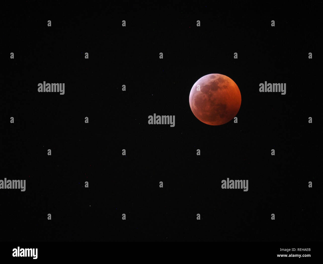 super wolf blood moon of Jan 20th, 2019 - Stock Image