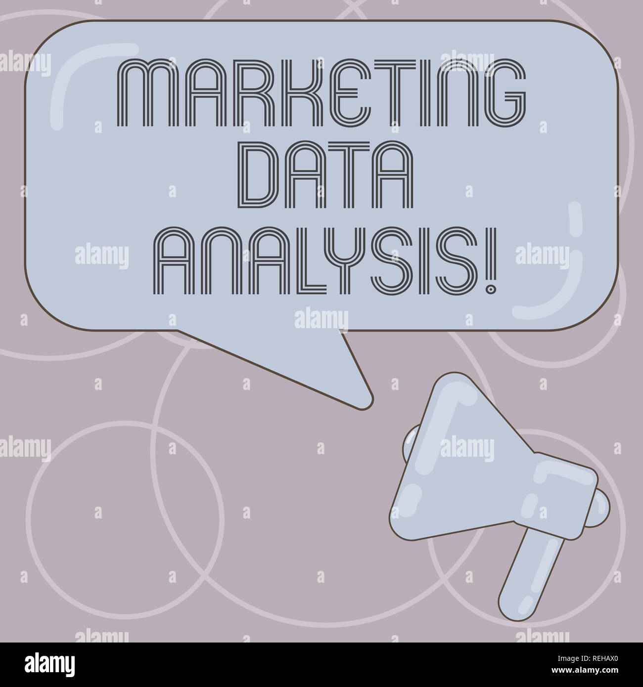 Word writing text Marketing Data Analysis. Business concept for Collecting data, scrutinized and make a conclusion Megaphone photo and Blank Rectangul - Stock Image
