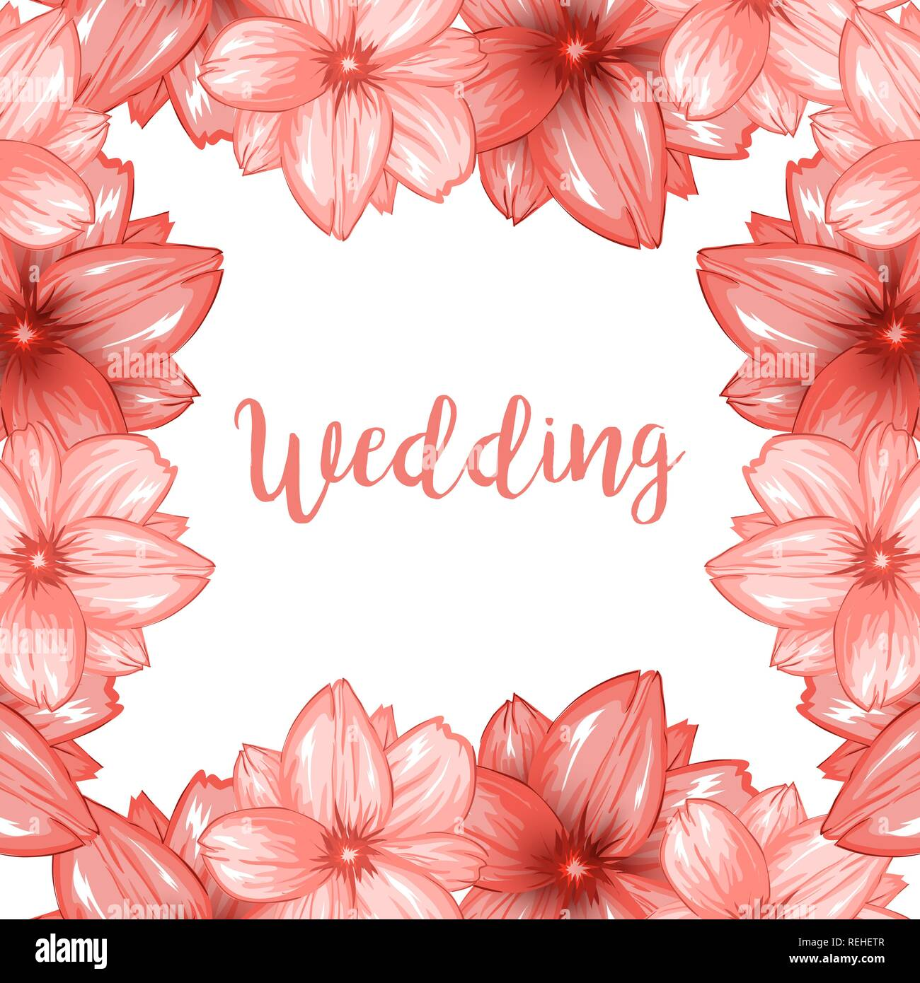 Pink cherry blossom or sakura flowers frame for wedding design with white space for wishes - Stock Image