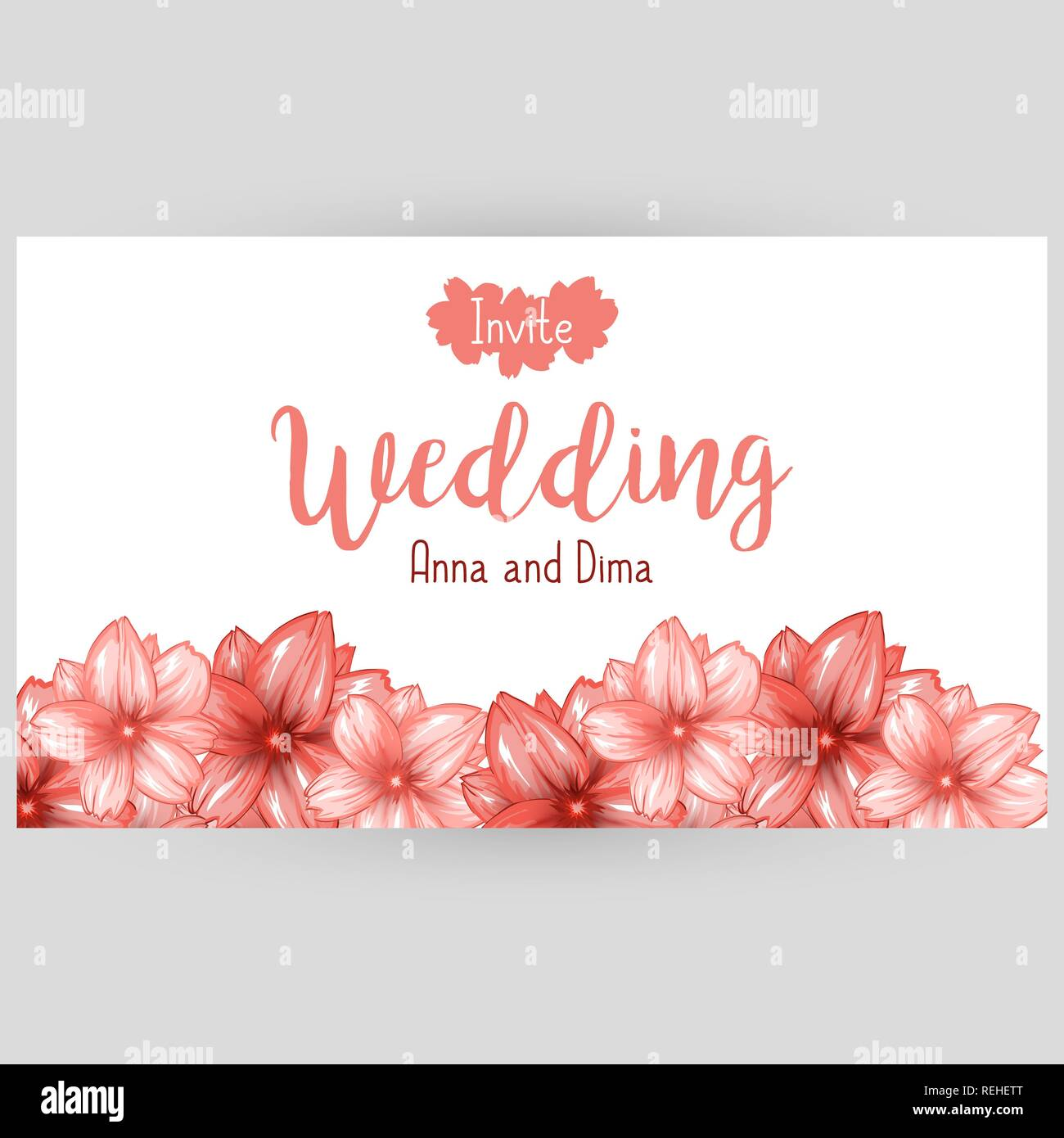 Wedding horizontal banner or website header design with pink japanese cherry blossom. Vector illustration - Stock Image