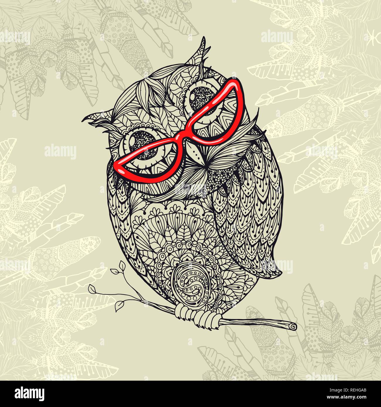 Doodle Style Owl In Red Eyeglasses Illustration With Ornaments Fill For Adult Coloring Book Page Design Antistress Ink Drawing Or Tshirt Print Design Fabric Textile Stock Vector Image Art Alamy