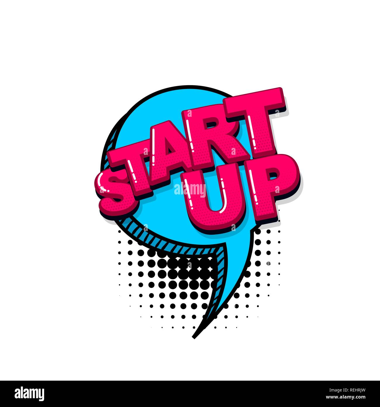 Start up project comic text sound effects pop art style  Vector