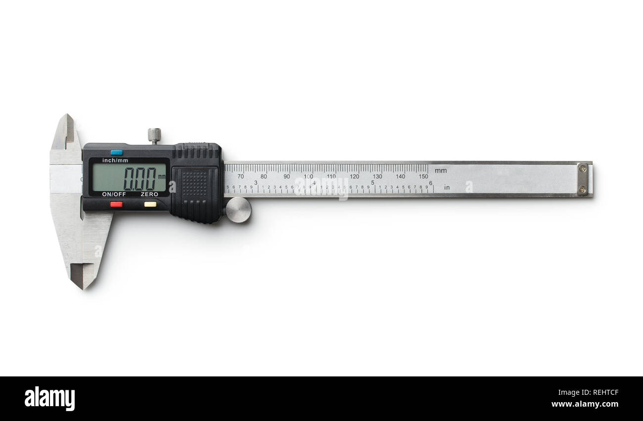 Digital and manual vernier caliper isolated on white background. - Stock Image
