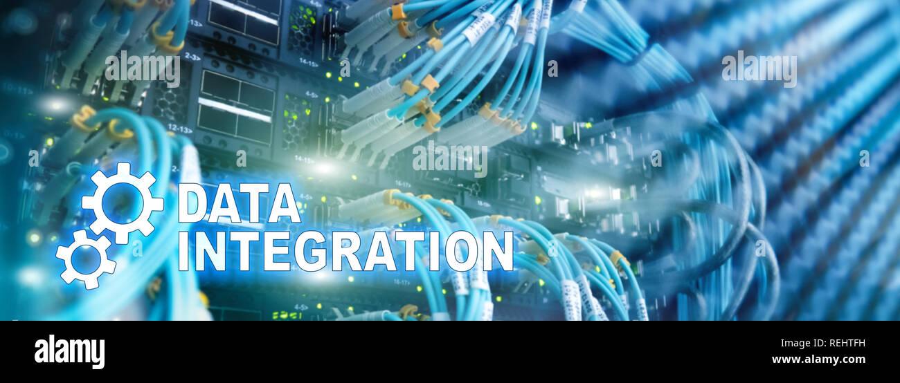 Data integration information technology concept on server room background. - Stock Image