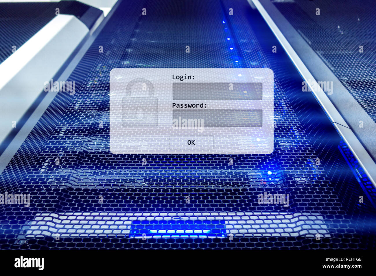 Server room, login and password request, data access and security Stock Photo