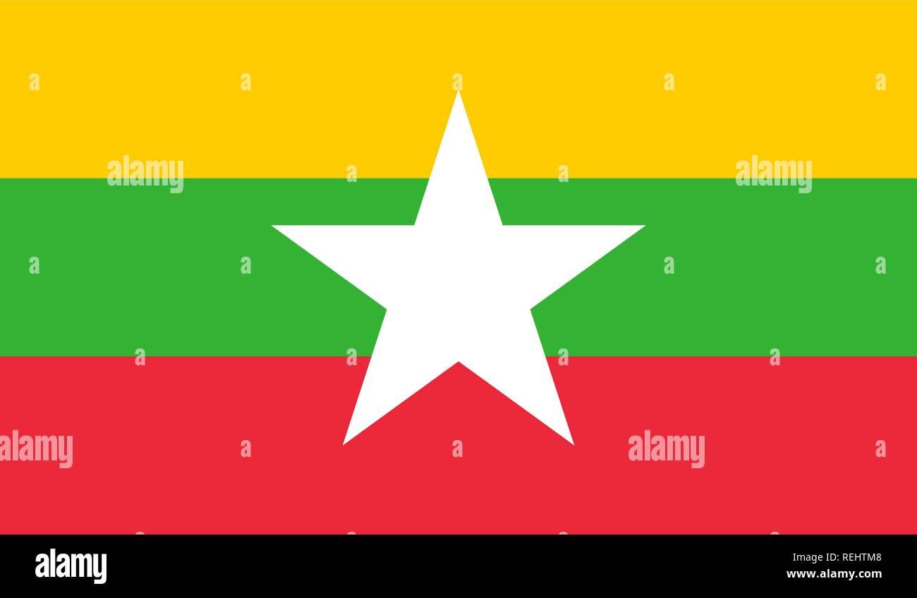 Myanmar (Burma) Flag - Stock Vector