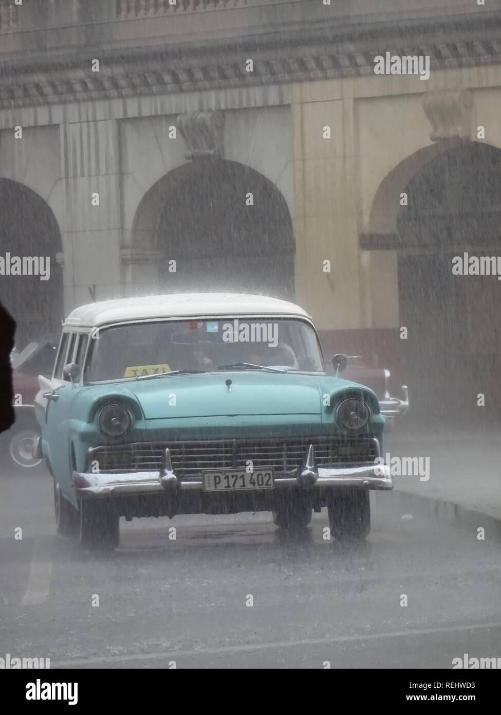 Old Car in Havana street Stock Photo