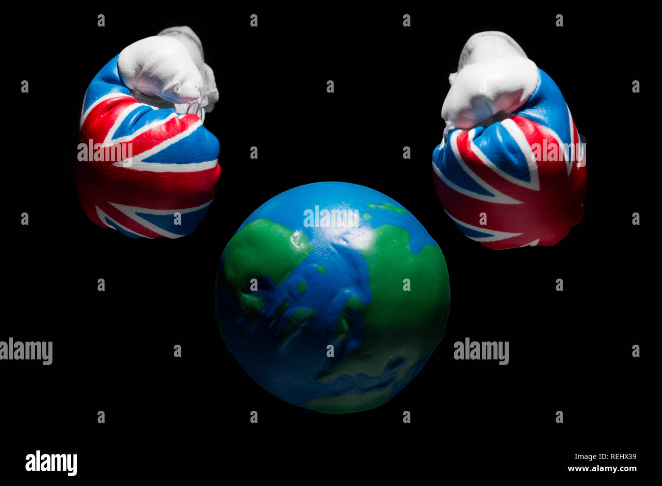 UK vs the world Stock Photo
