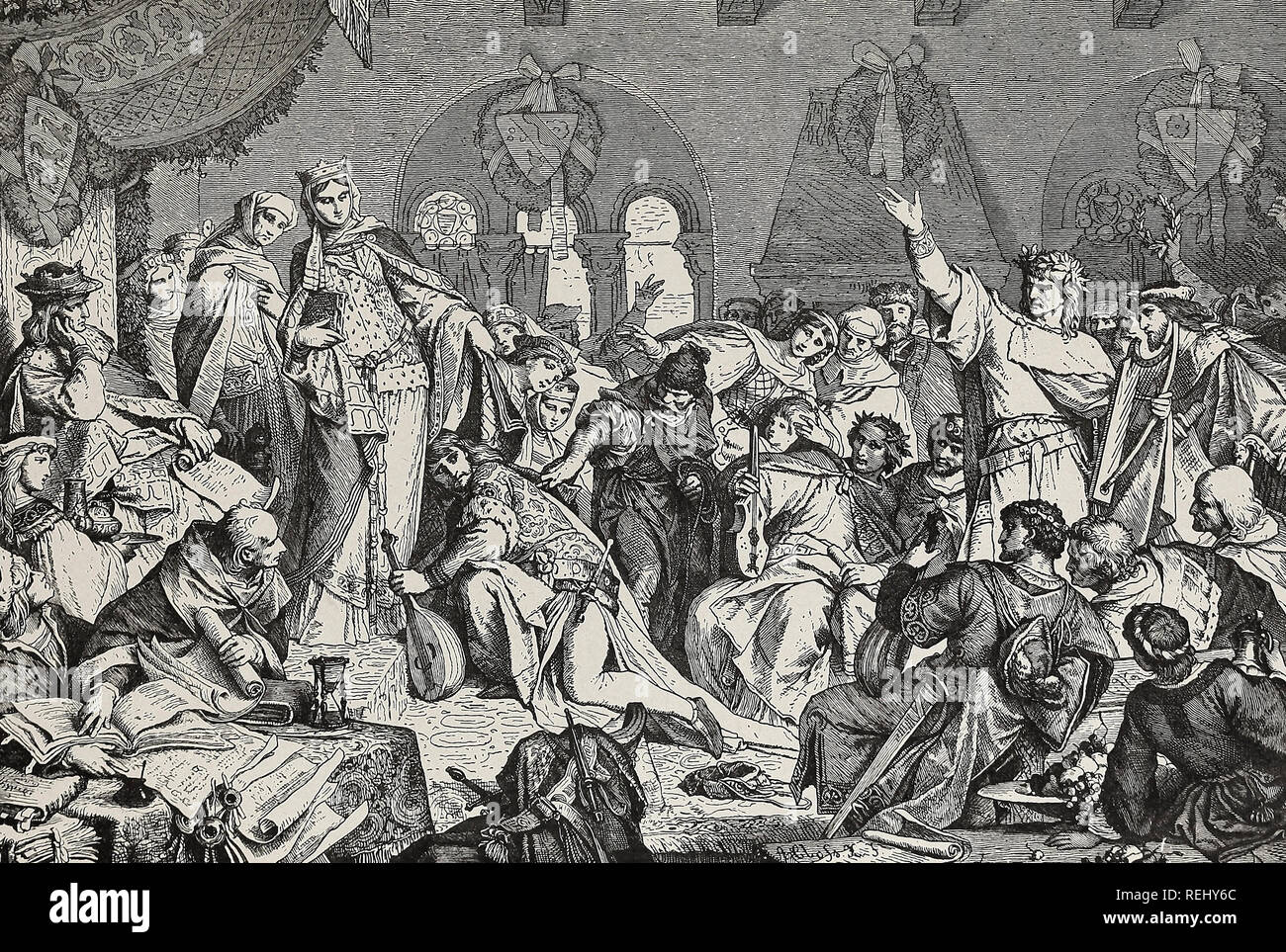 The battle of the bards - The defeated minstrel saves his life by an appeal to the pity of the presiding Duchess - Stock Image