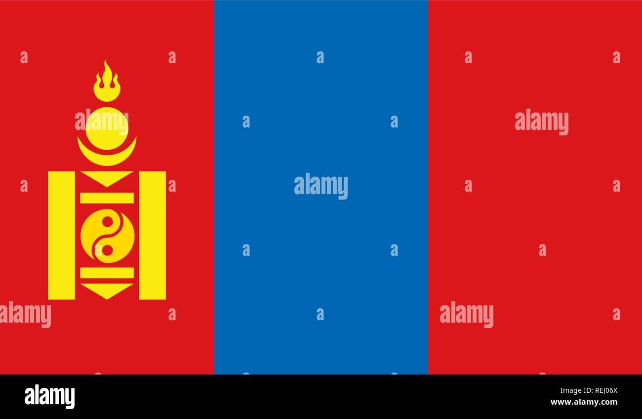 Mongolia Flag - Stock Vector