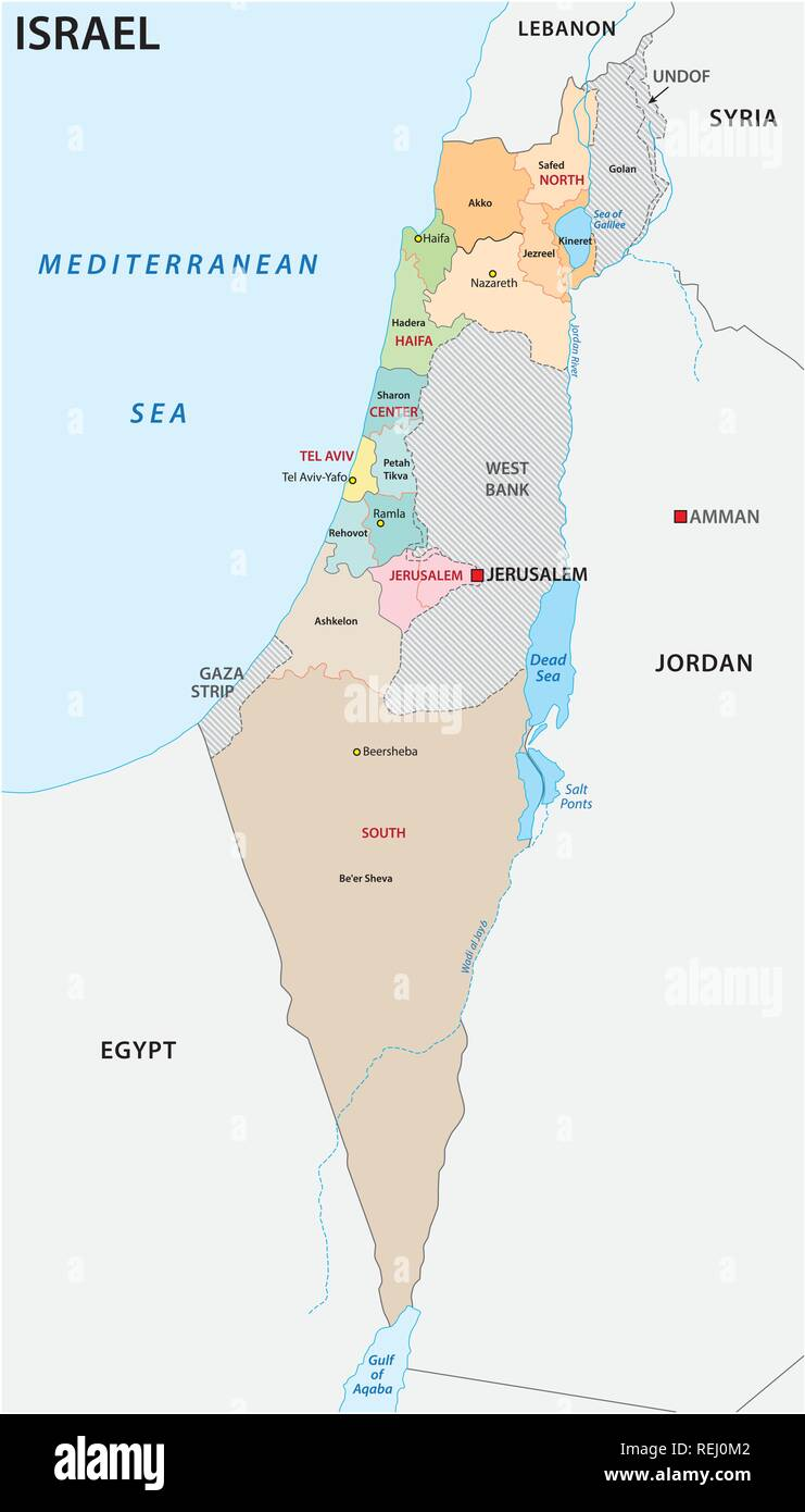 Israel administrative and political vector map - Stock Image