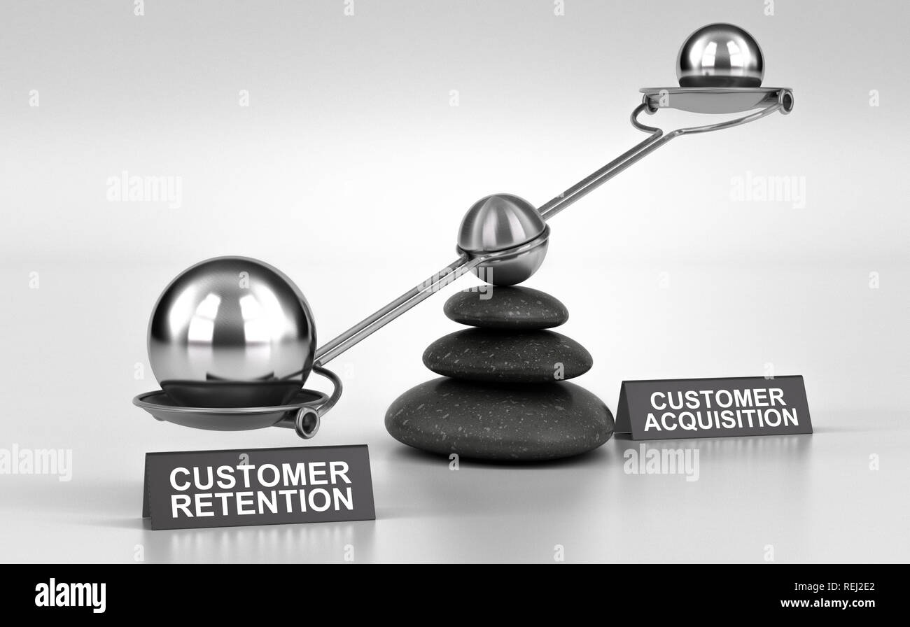 3D illustration of a conceptual scale made with pebbles and two possibilities customer retention or acquisition - Stock Image