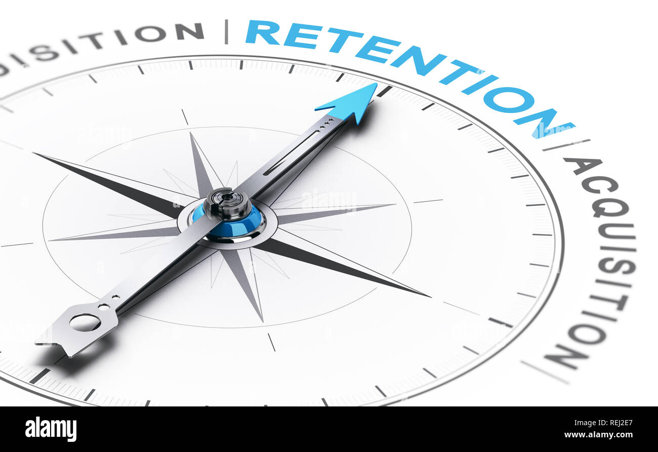 3D illustration of a conceptual compass with needle pointing the word retention instead of acquisition - Stock Image