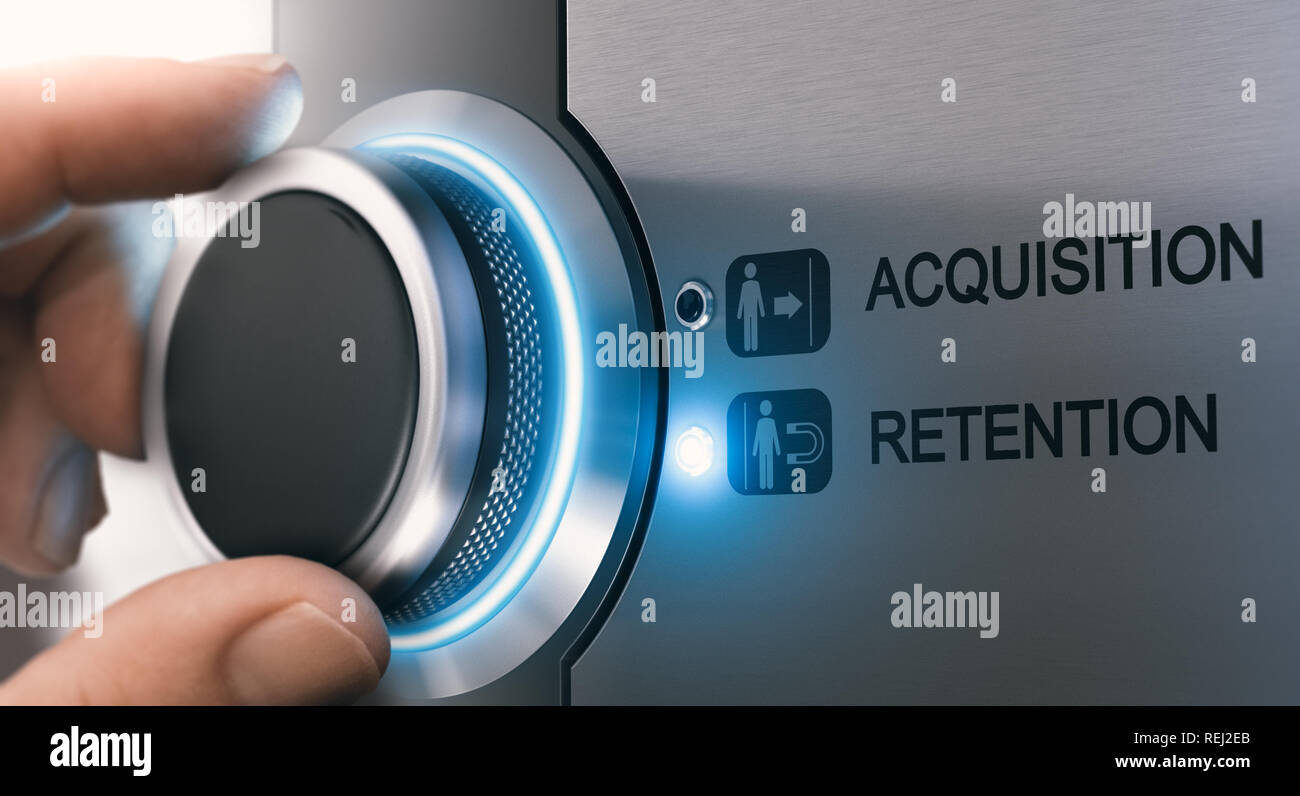 Sales Person turning a knob to select customer retention strategy instead of acquisition. Composite image between a hand photography and a 3D backgrou - Stock Image