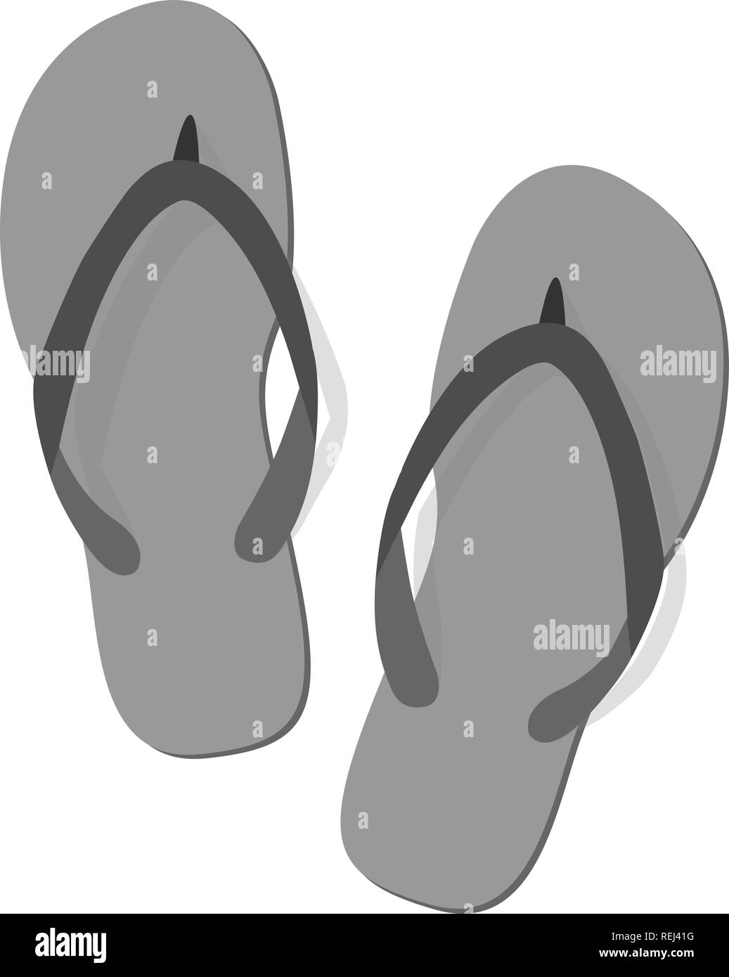 d45d4fcd7455f Black grey summer slippers on white background. Flip-flops isolated icon.  Flat