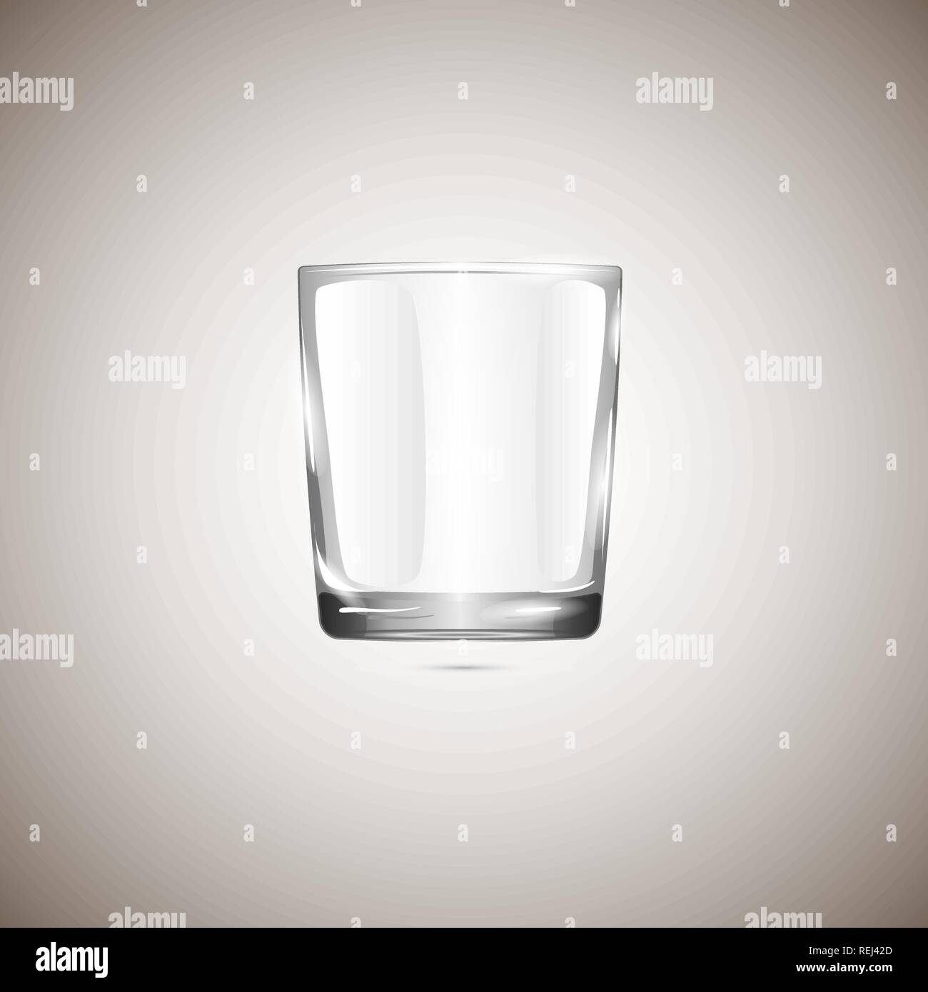 Realistic empty glassful, isolated on beige background. Vector illustration, EPS 10. - Stock Vector