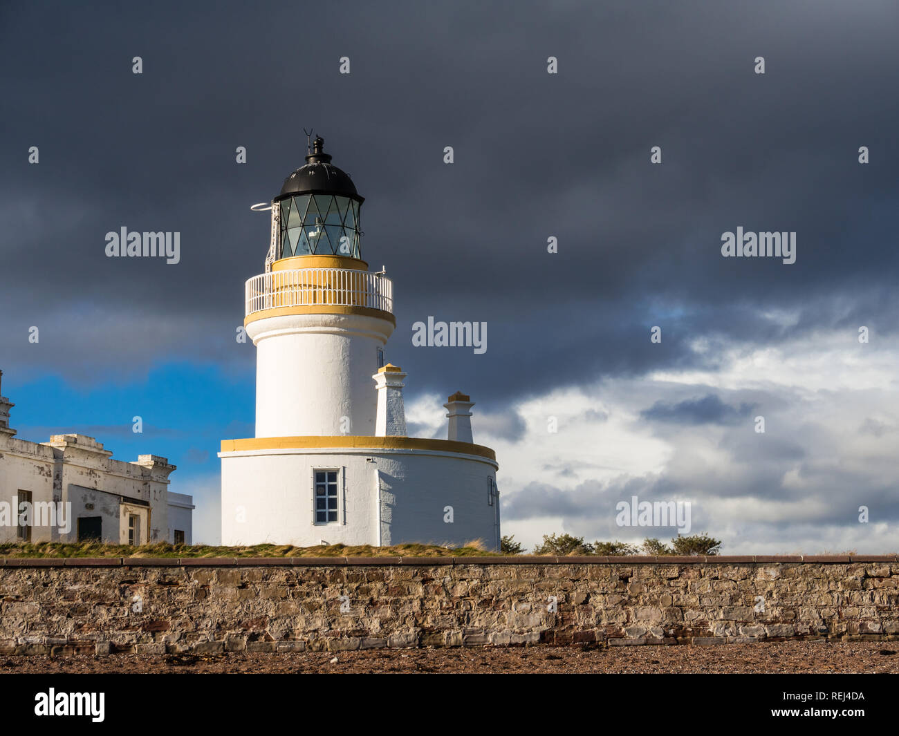 Lighthouse at Chanonry Point on Moray Firth, Scotland - Stock Image