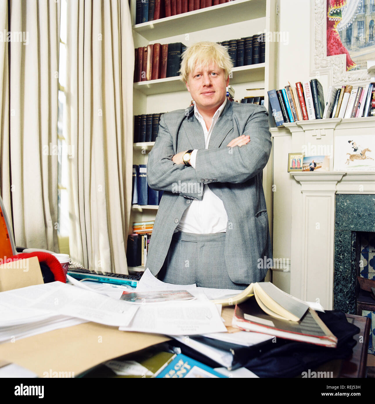 Boris Johnson conservative MP and editor of the Spectator magazine photographed in the Spectator magazine office in 2003, Westminster, London, England. - Stock Image