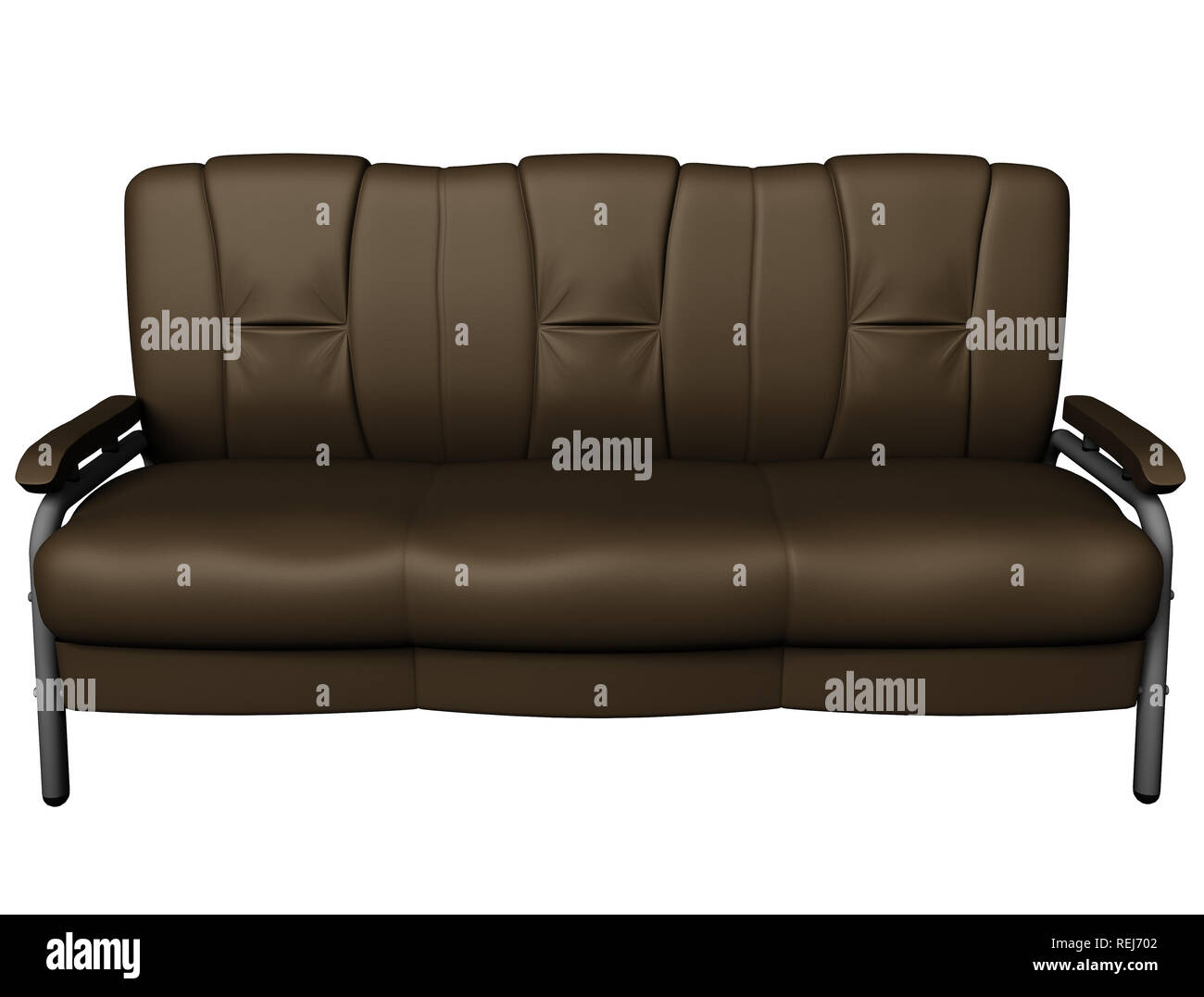 Modern brown suede couch isolated on white background. Front view ...