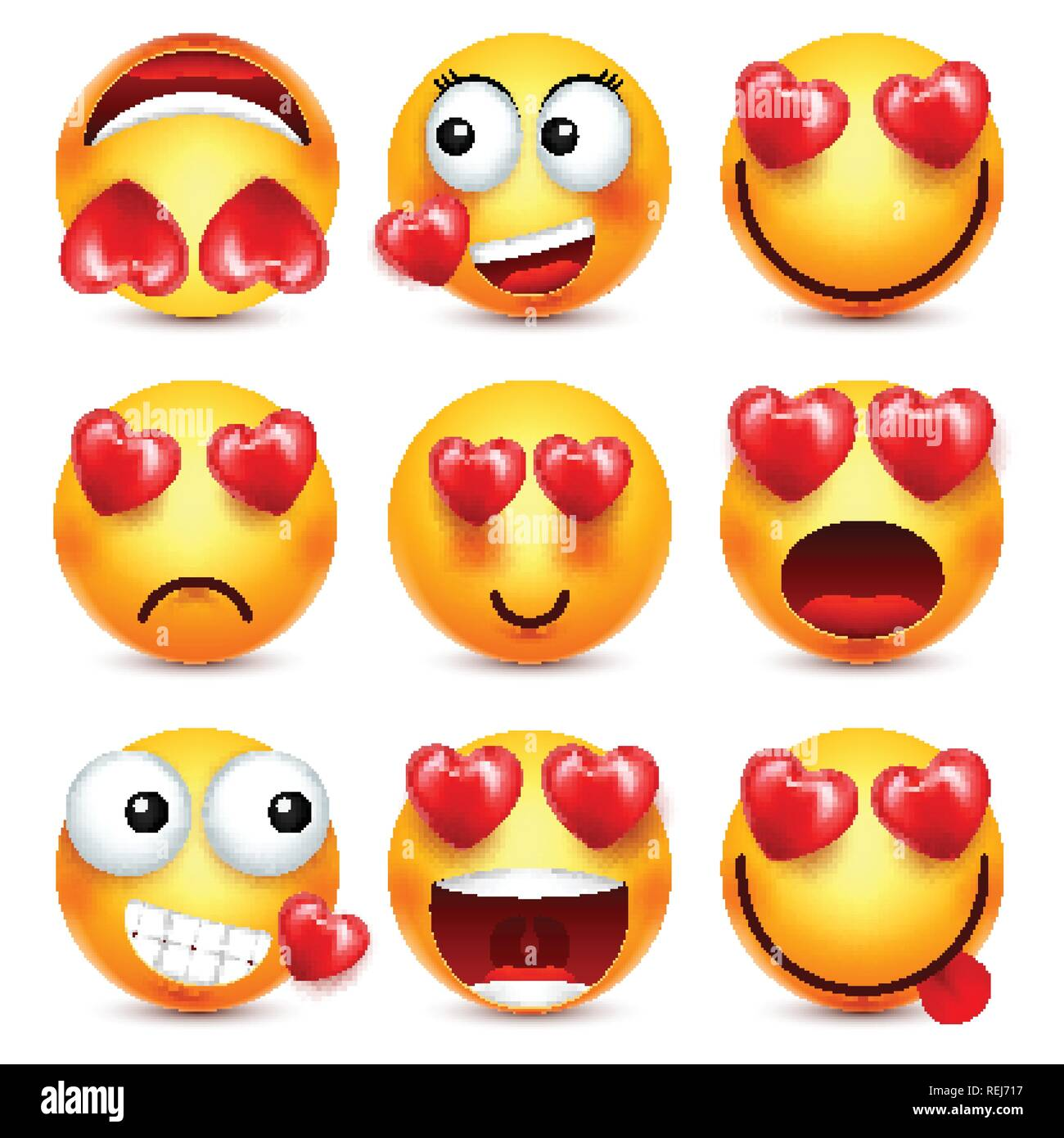 Smiley Emoji With Red Heart Vector Set  Valentines Day
