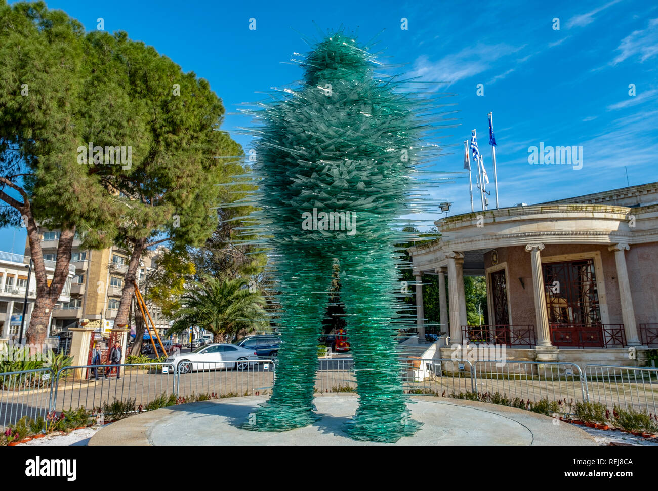 'The Poet' a glass sculpture by Greek artist Costas Varotsos which is situated next to Eleftheria Square in the centre of Nicosia. - Stock Image
