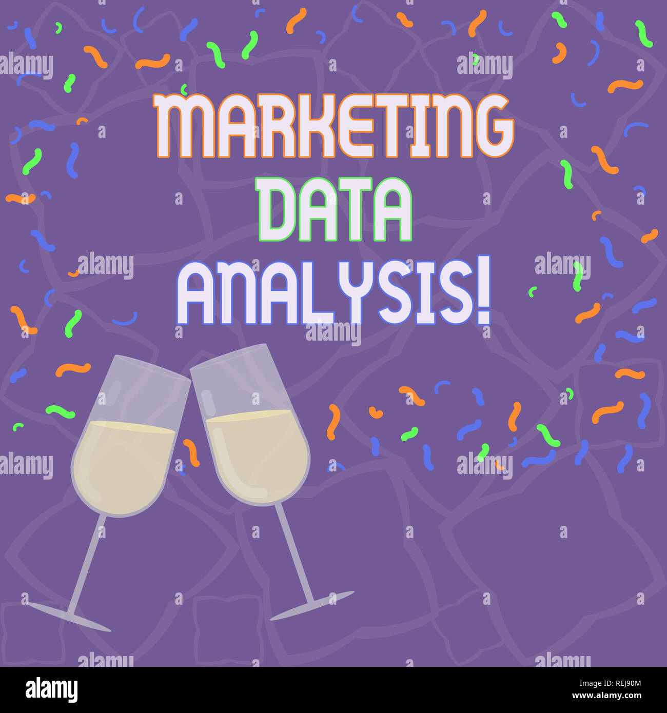 Handwriting text Marketing Data Analysis. Concept meaning Collecting data, scrutinized and make a conclusion Filled Wine Glass Toasting for Celebratio - Stock Image