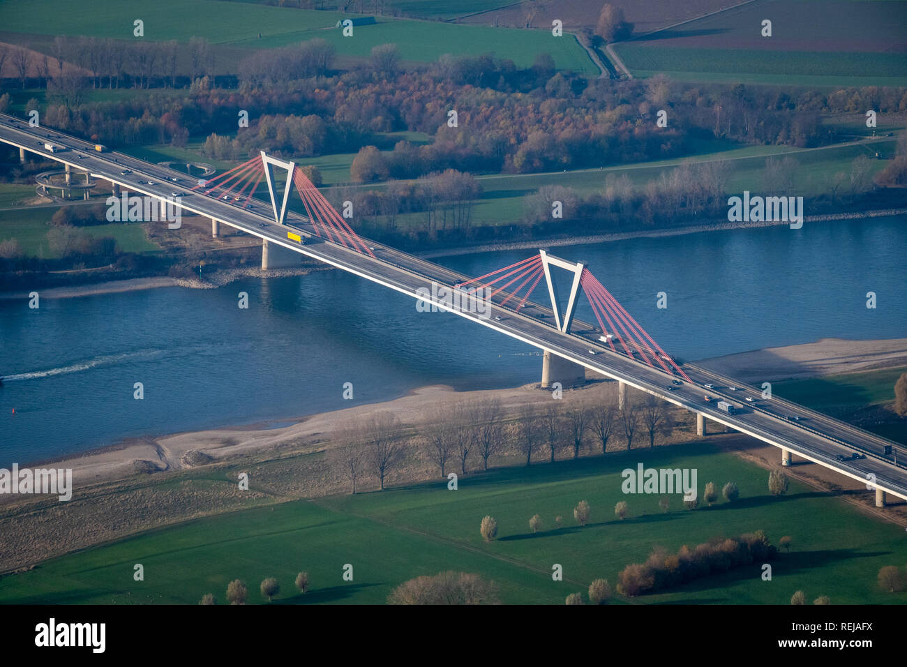 Bridge over the river Rhine in Germany close to Duesseldorf in late summer season - Stock Image