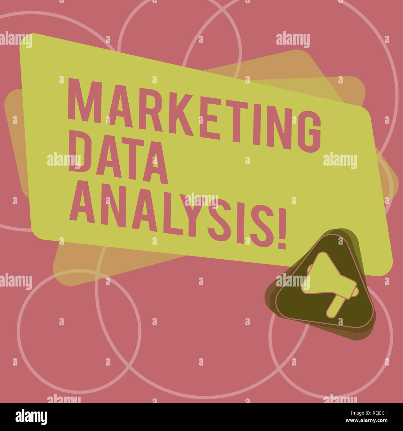 Word writing text Marketing Data Analysis. Business concept for Collecting data, scrutinized and make a conclusion Megaphone Inside Triangle and Blank - Stock Image