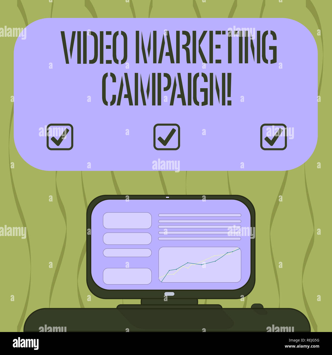 Writing note showing Video Marketing Campaign. Business photo showcasing Assessing the benefit of digital campaign Mounted Computer Screen with Line G - Stock Image