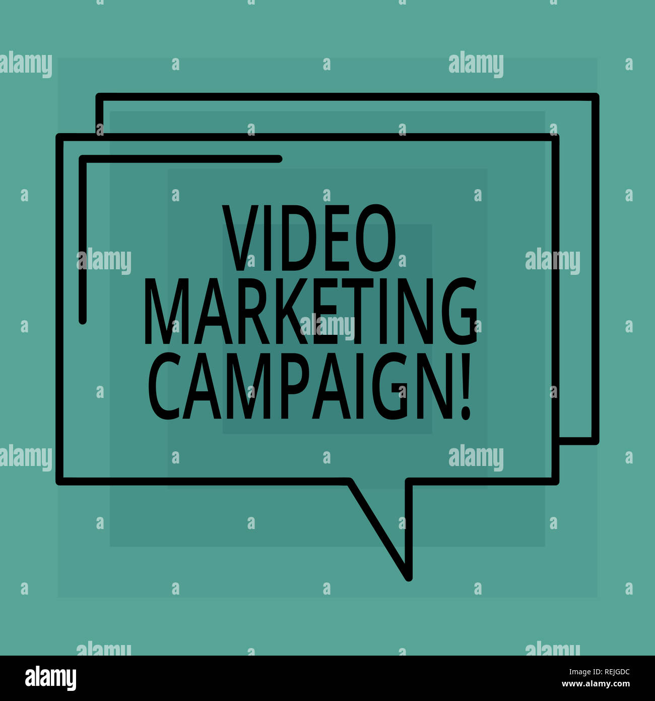 Conceptual hand writing showing Video Marketing Campaign. Business photo text Assessing the benefit of digital campaign Rectangular Outline Transparen - Stock Image
