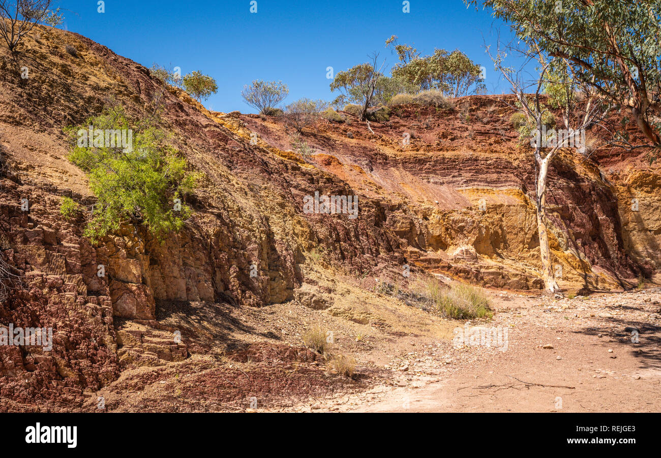 Ochre Pits colorful view in West MacDonnell National Park in NT central outback Australia - Stock Image