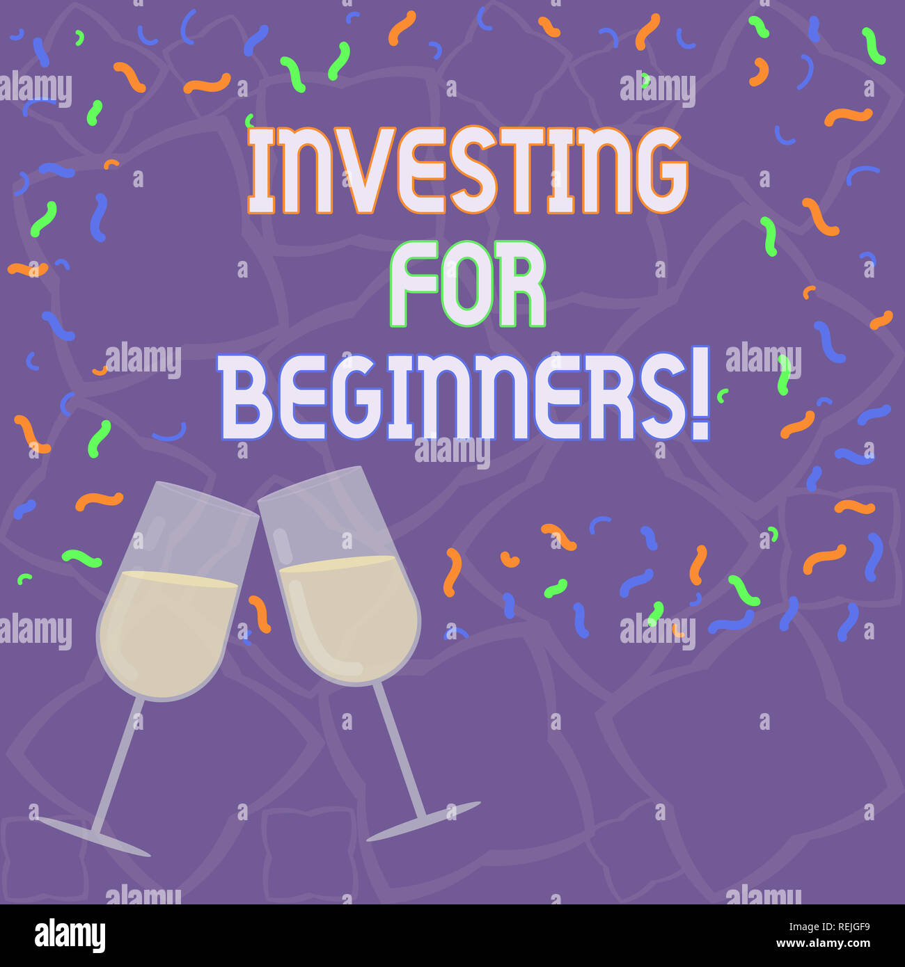 Handwriting text Investing For Beginners. Concept meaning outlay of money usually for income or profit Filled Wine Glass Toasting for Celebration with Stock Photo