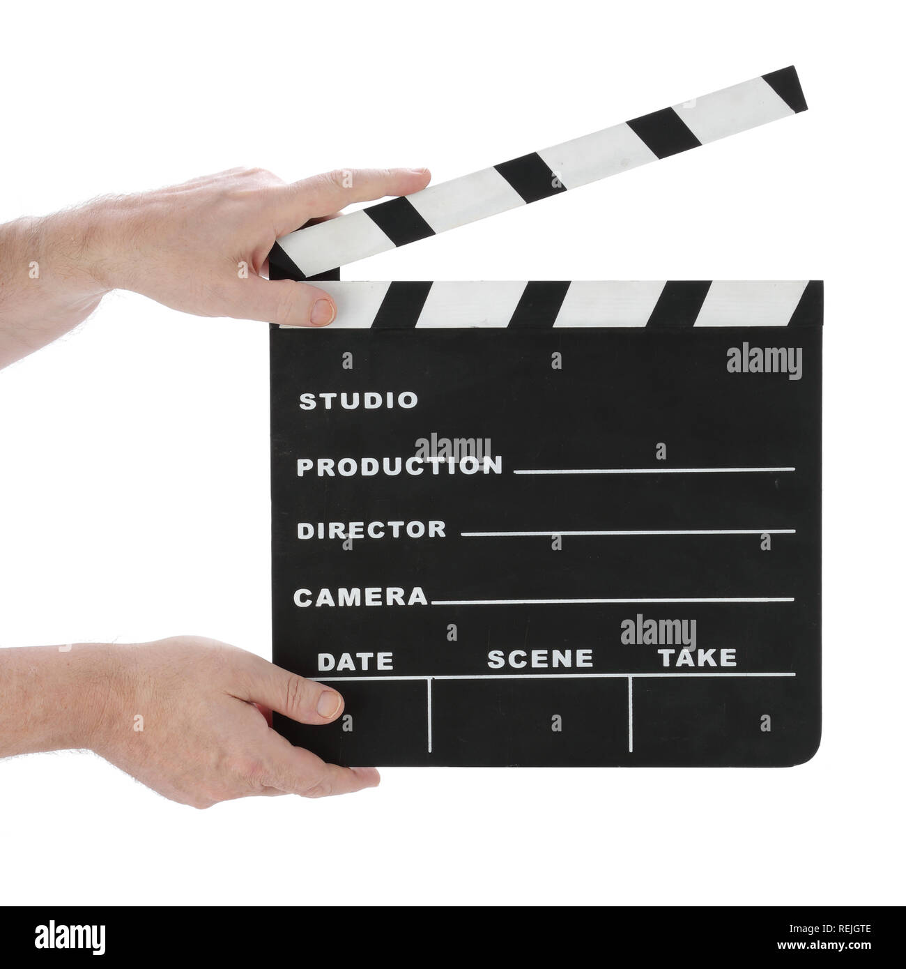 Classic hollywood chalk clapperboard open on a white background - Stock Image