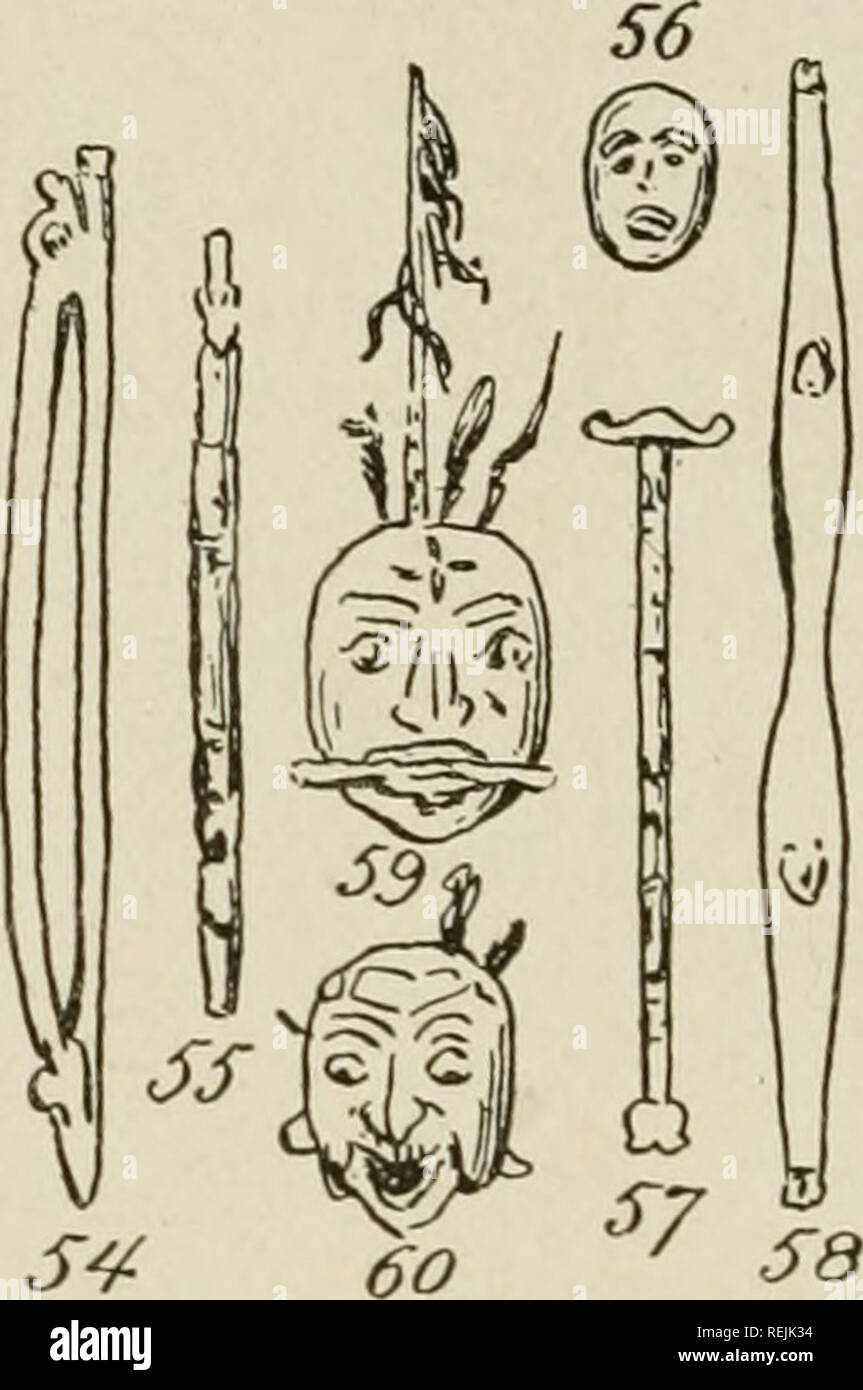 . The coast Indians of southern Alaska and northern British Columbia. Indians of North America; Indians of North America. EXPLANATION OF PLATE XVI,. Ceremonial Dance Paraphernalia. Fig. 54. Ceremonial Baton or Wand. In form of a bow. The ends represent the head and tail of the whale. Carried bj- the Sliaman in medicine dances. Cat. No. 89099, U. S. N. M. Haida Indians, Queen Charlotte Islands, British Columbia. Collected bj' James G. Swan. Fig. 55. Carved Cane (Taski). Carried in the hand of tlie medicine man at a potlatch. Cat. No. 88133. Masset Indians (Haida), Queen Charlotte Islands, Briti - Stock Image