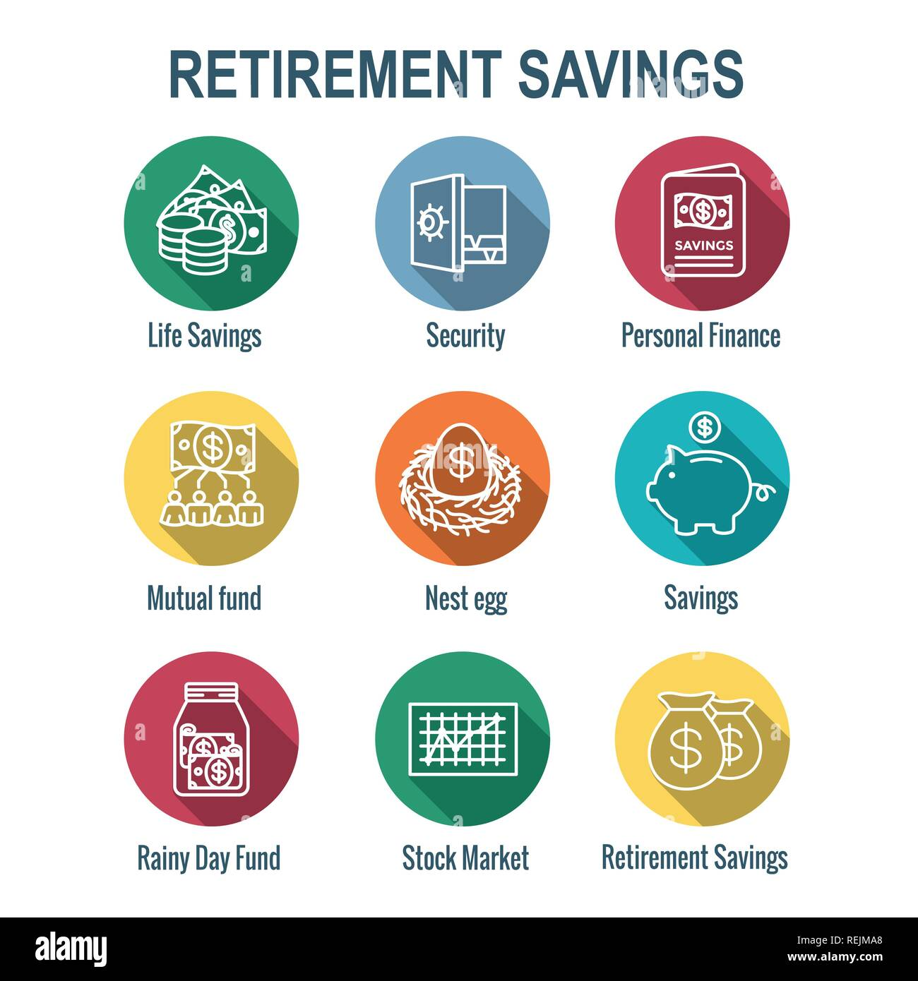 Retirement Account & Savings Icon Set - Mutual Fund, Roth IRA, etc Stock Vector
