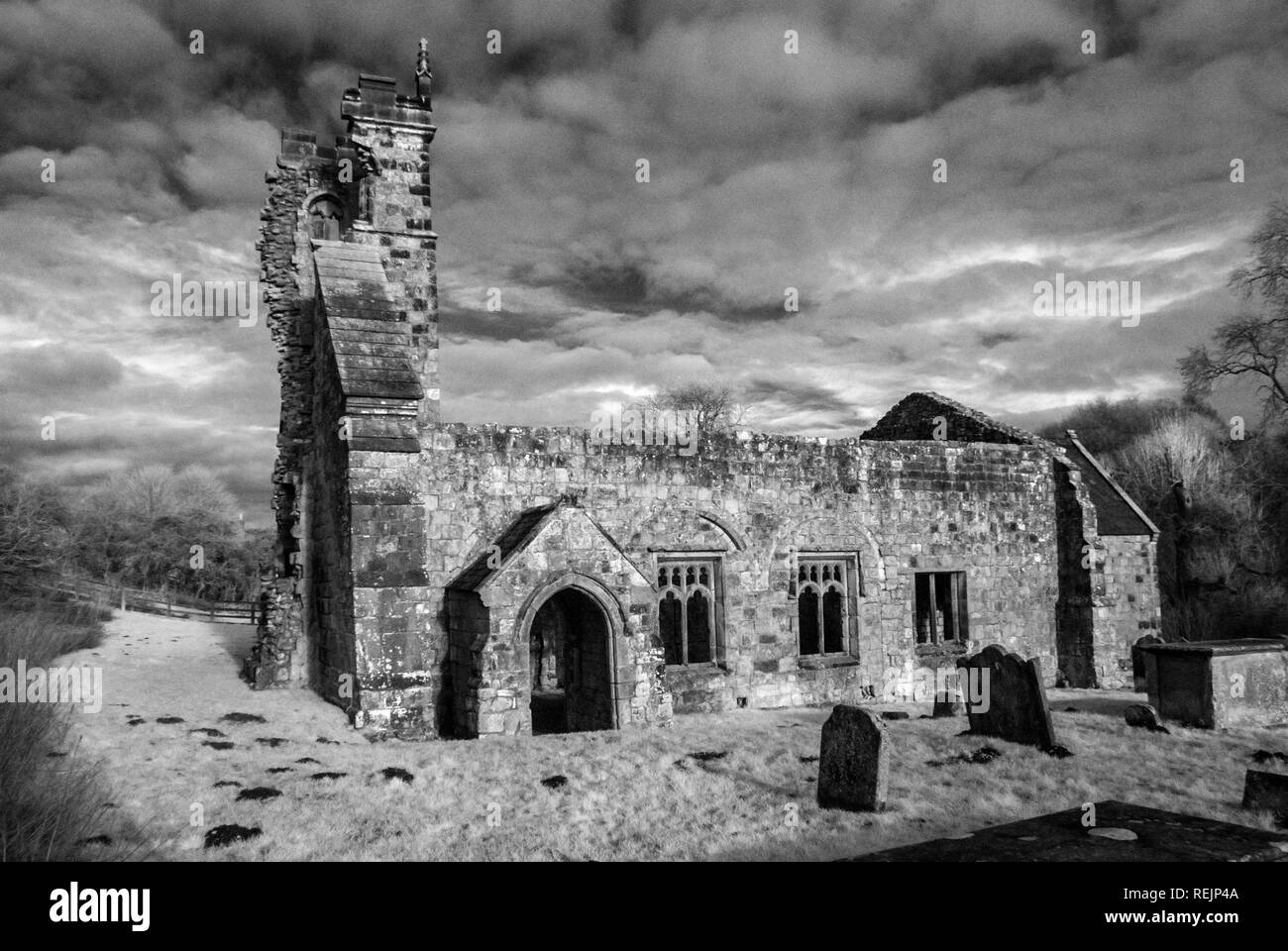 Wharram Percy, Ruined Church and Deserted Medieval Village, near Malton, East Yorkshire - Stock Image