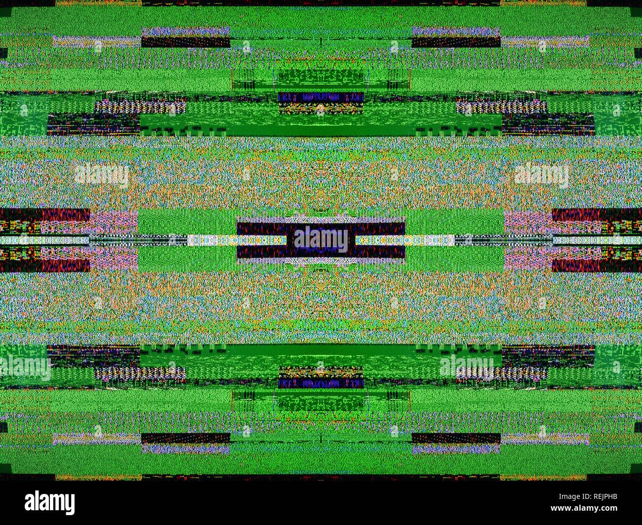 Digital television noise on a large plasma OLED 4K Ultra HD High Dynamic Range HDR Smart TV square image - Stock Image