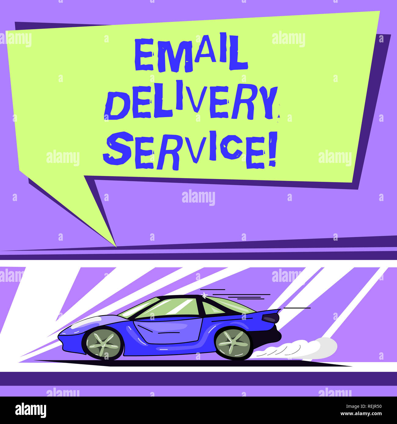 Word writing text Email Delivery Service. Business concept for email marketing platform or tools in sending messages Car with Fast Movement icon and E - Stock Image