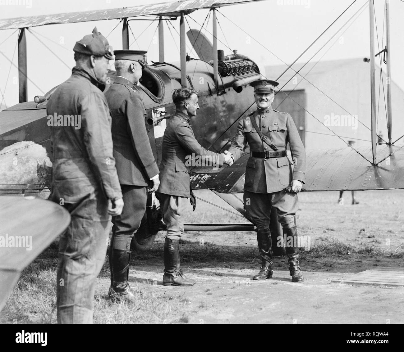 U.S. General John Pershing being Greeted by Captain Strus, National Photo Company, 1920 - Stock Image