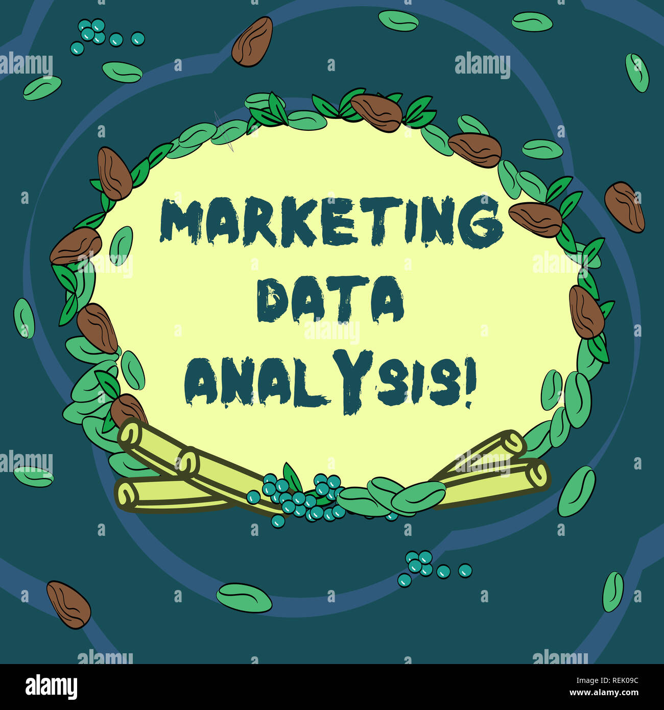 Conceptual hand writing showing Marketing Data Analysis. Business photo text Collecting data, scrutinized and make a conclusion Wreath Made of Differe Stock Photo