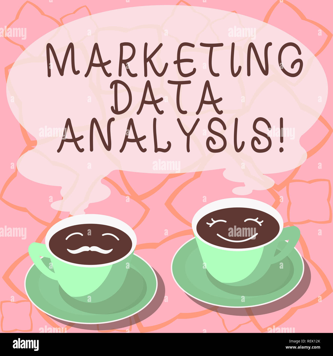 Conceptual hand writing showing Marketing Data Analysis. Business photo showcasing Collecting data, scrutinized and make a conclusion Cup Saucer for H - Stock Image